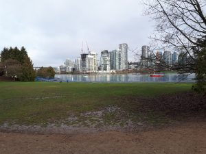 Charleson Park on February 5 2018. View of false creek and city in background.