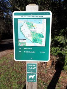 Pacific Spirit Park Vancouver sign on park entry