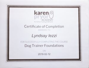 Karen Pryor Academy Dog Trainers Foundation Course Certificate