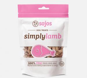 Sojo simply lamb natural dog treats in bag