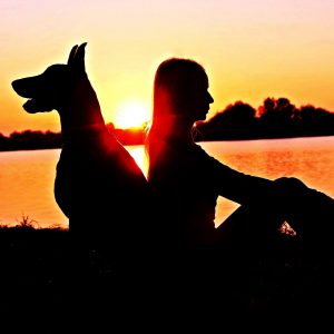 Woman and dog sitting back to back beside lack at sunset