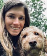 Owner Lyndsay & her goldendoodle dog Porter